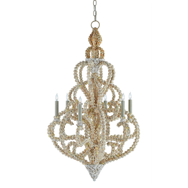 Corniche Sea Shells Chandelier at FantaSea Coastal Home beach house decor