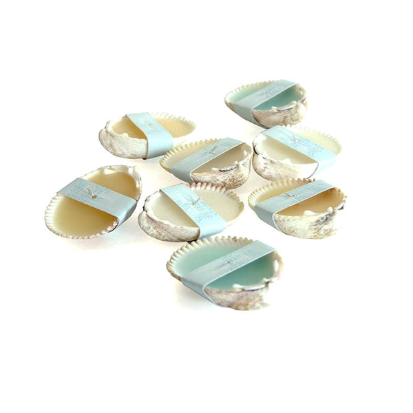 Sea shell unscented votive candles at FantaSea Coastal Home beach house decor