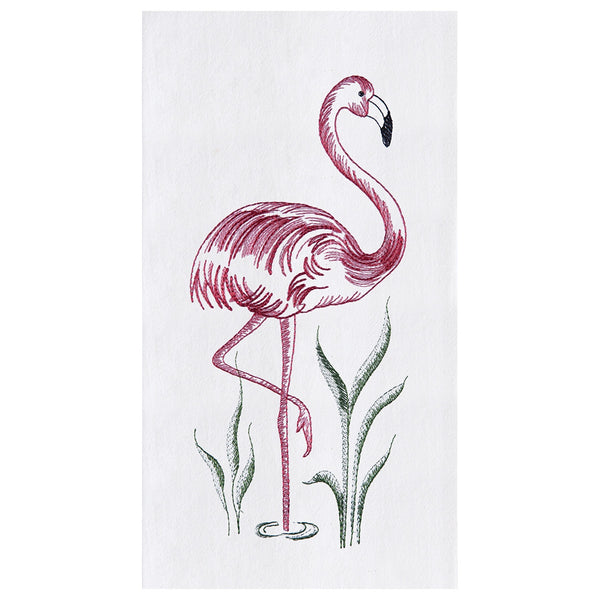 Pink flamingo embroidered kitchen guest hand towels at FantaSea Coastal Home beach house decor