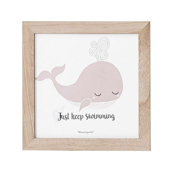 Cute pink whale girls childrens baby nursery framed watercolor artwork
