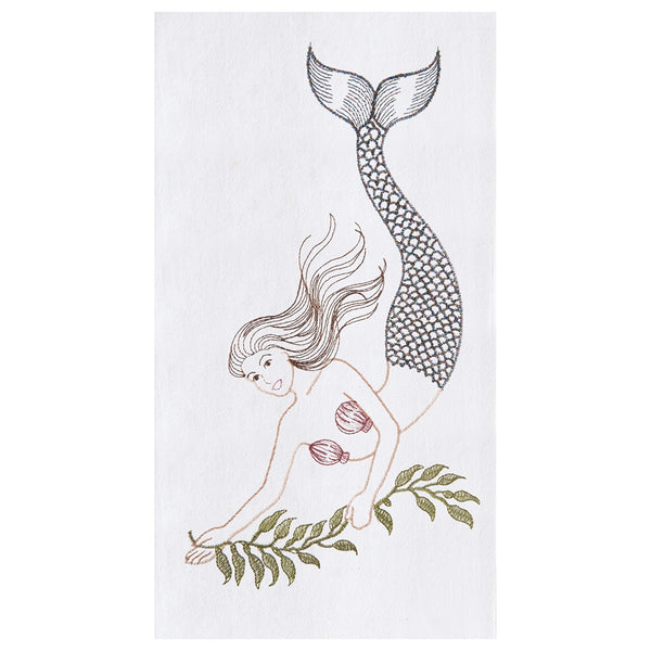 Mermaid tail embroidered kitchen guest hand towels at FantaSea Coastal Home beach house decor
