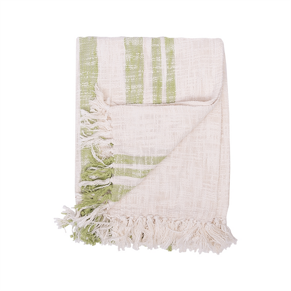 Slub Striped Throw Green