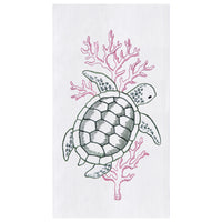 Green sea turtle coral embroidered kitchen guest hand towels at FantaSea Coastal Home beach house decor