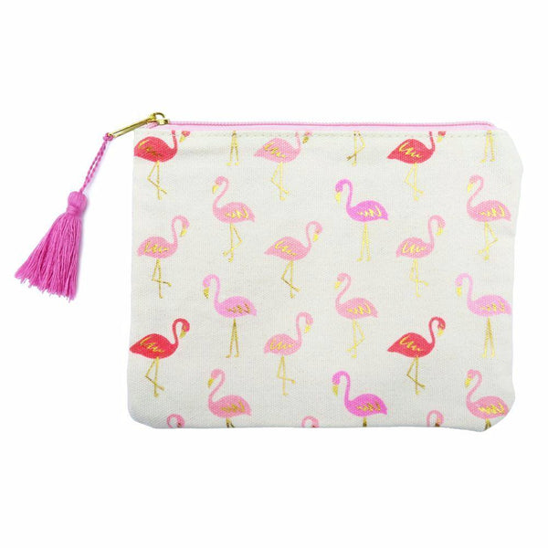 Pink flamingos travel zipper tasseled purse pouch at FantaSea Coastal Home beach house decor
