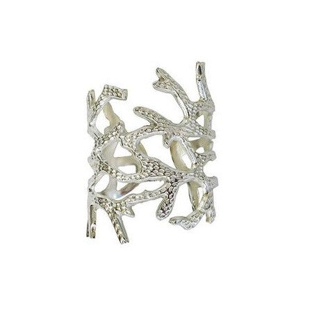 Silver coral branch napkin rings at FantaSea Coastal Home beach house decor