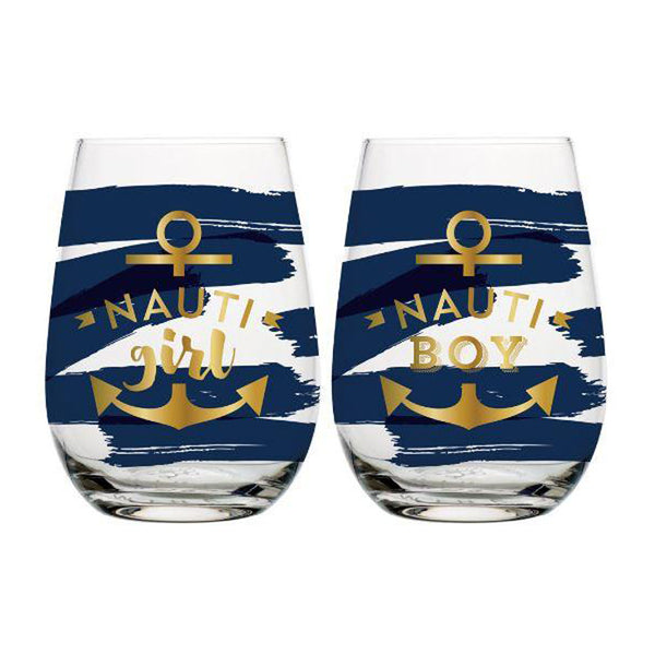 Cute beachy stemless wine glasses the best gifts at FantaSea Coastal Home beach house decor