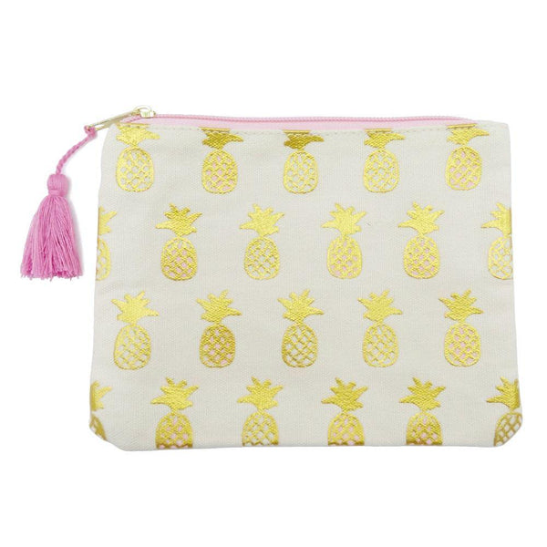 Gold pineapples tasseled travel zipper purse pouch at FantaSea Coastal Home beach house decor