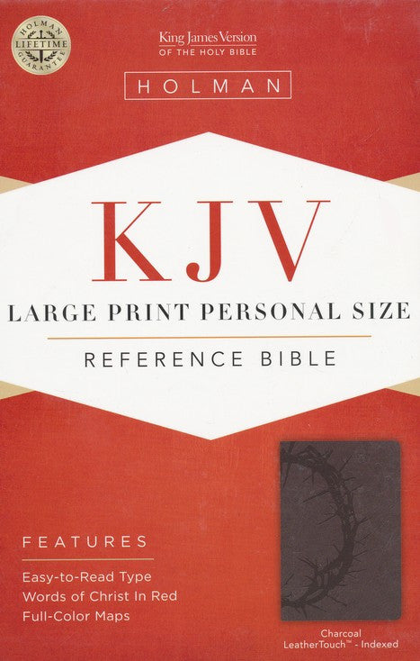 Bible Large Print Personal Size Reference KJV, Charcoal LeatherTouch, Thumb-Indexed