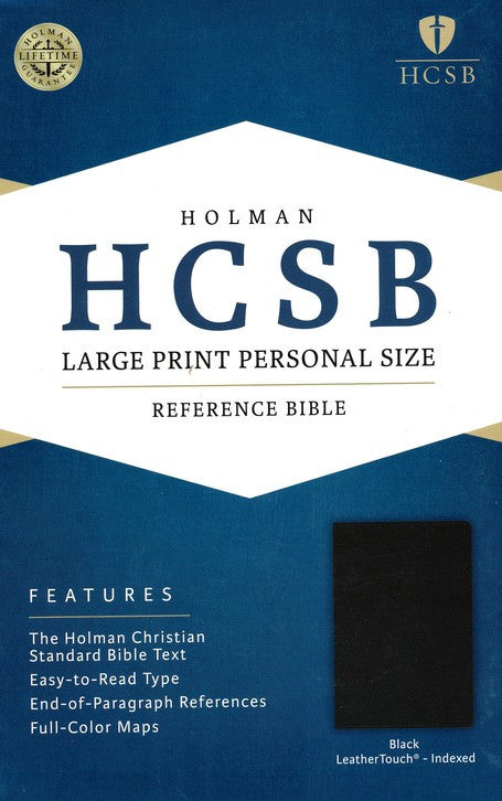 Bible Large Print Personal Size HCSB, Black LeatherTouch, Thumb-Indexed