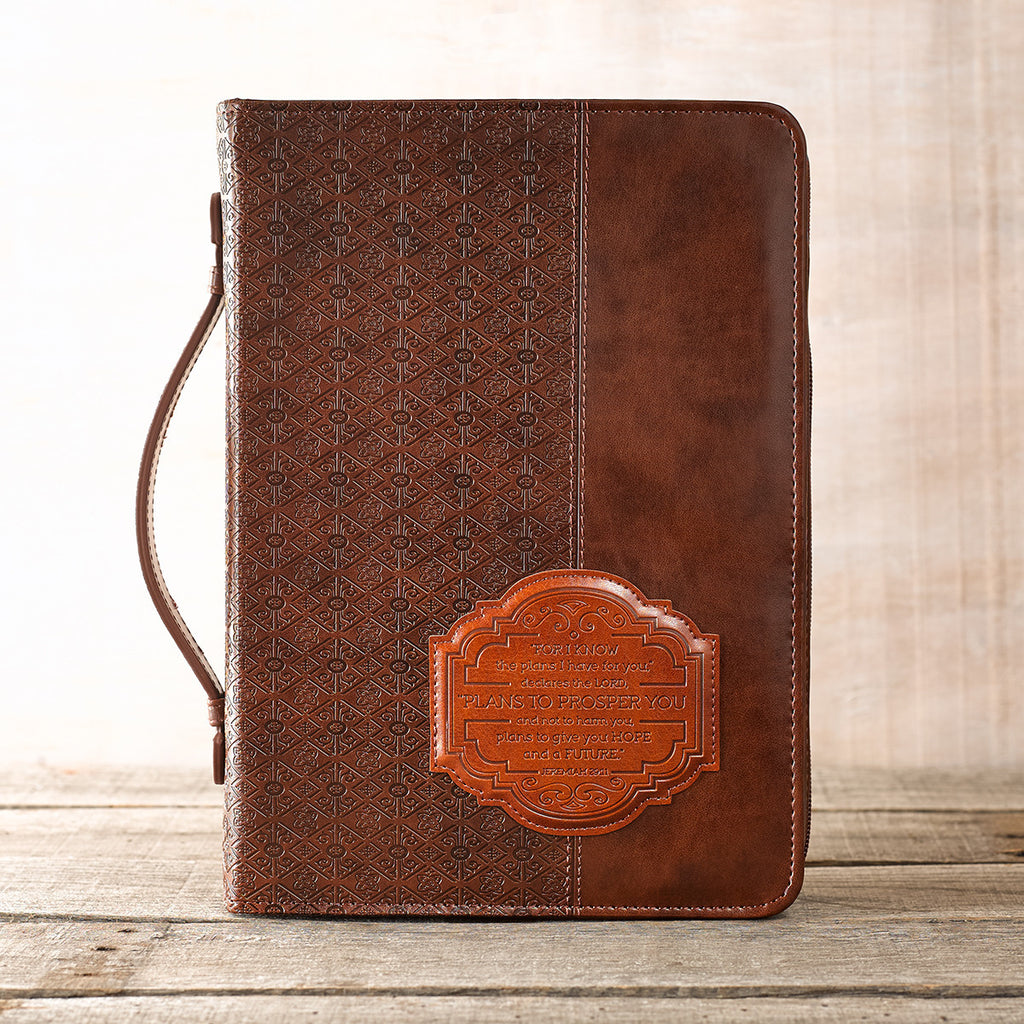 "Bible Cover ""I know the Plans"" Brown Jer 29.11 Lg / Forro de Biblia"