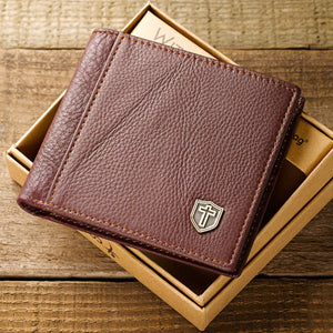 Burgundy Genuine Leather Wallet with Cross Shield / Billetera Piel Genuina - Cafe