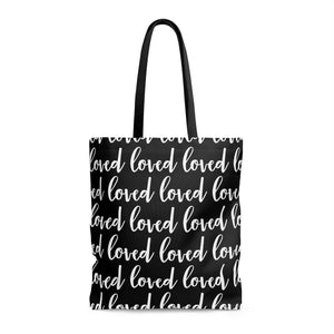 Loved (Pattern) - Oversized Tote - Black - Love Tee