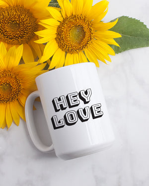 (CLOSEOUT) Hey Love: 15oz. Coffee Mug - Love Tee