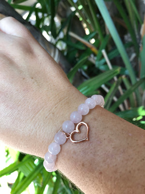 Rose Quartz - Gemstone Bracelet With Rose Gold Charm - Love Tee