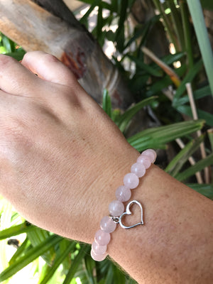 Rose Quartz - Gemstone Bracelet With Silver Charm - Love Tee