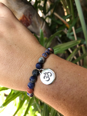 Sodalite - Gemstone Bracelet With Silver Charm - Love Tee