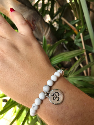 Howlite - Gemstone Bracelet With Silver Charm - Love Tee