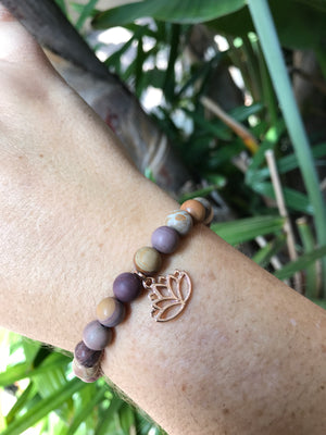 Mookaite Jasper - Gemstone Bracelet With Rose Gold Charm - Love Tee