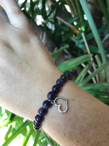 Amethyst - Gemstone Bracelet With Silver Charm - Love Tee