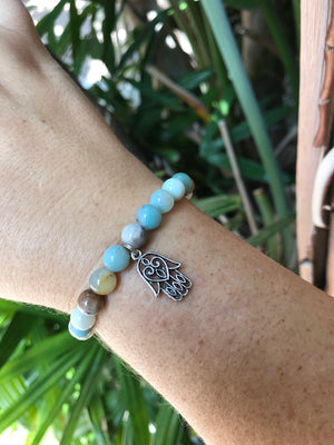 Amazonite - Gemstone Bracelet With Silver Charm - Love Tee
