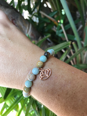 Amazonite - Gemstone Bracelet With Rose Gold Charm - Love Tee
