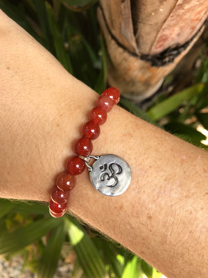 Carnelian - Gemstone Bracelet With Silver Charm - Love Tee