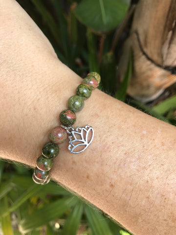 Unakite - Gemstone Bracelet With Silver Charm - Love Tee