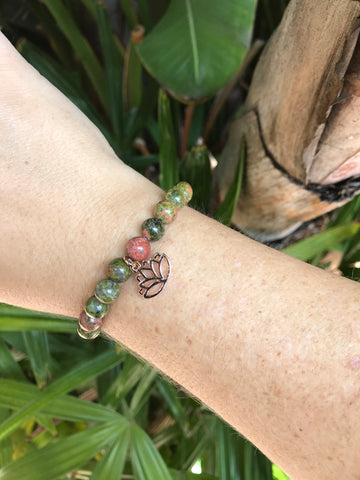 Unakite - Gemstone Bracelet With Rose Gold Charm - Love Tee