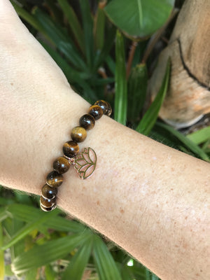 Tigers Eye - Gemstone Bracelet With Rose Gold Charm - Love Tee