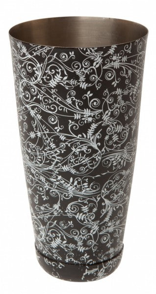 28 fl oz Boston Can BLACK Floral Design