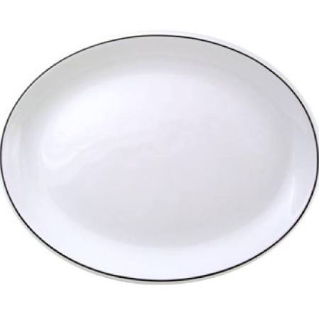 "Churchill Classic Black Line Oval Platter - 8"" (Box of 12)"