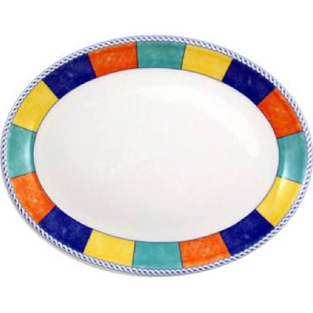 Churchill New Horizons Chequered Border Oval Platters 202mm - M834 (Box of 12)