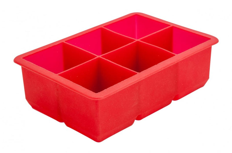 "6 Cavity Silicone Ice Cube Mould 2"" Square (Red)"