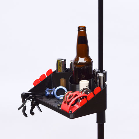 7X10 Microphone Stand Accessory Tray w/Drink, Picks and Harp Holder