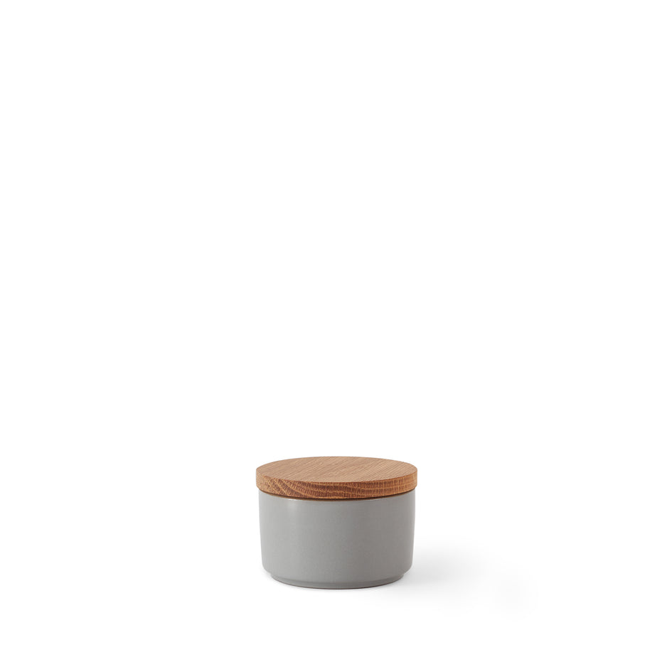 Mini Container with Wood Lid in Lemongrass and Light Grey Whale Image 1