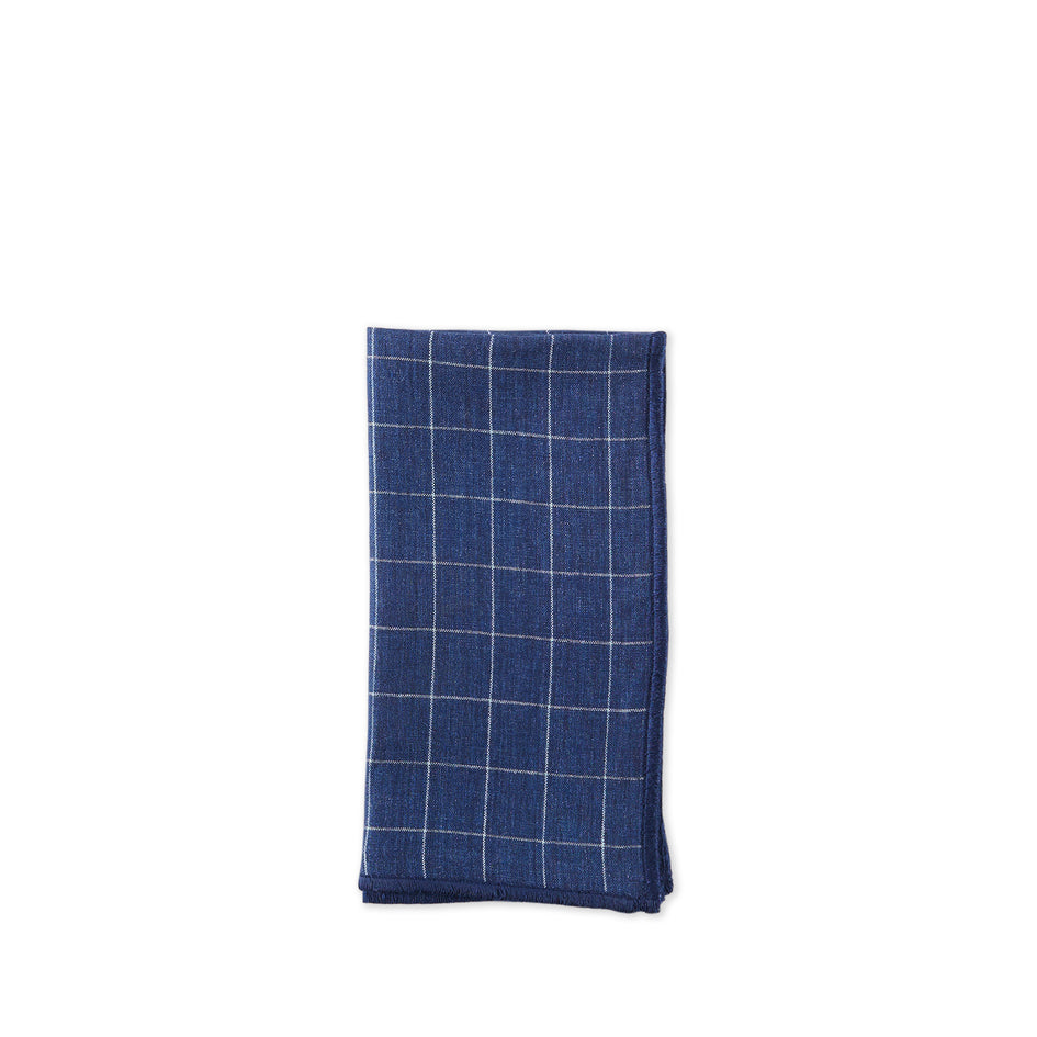 Linen Windowpane Check Napkin in Blue Image 1