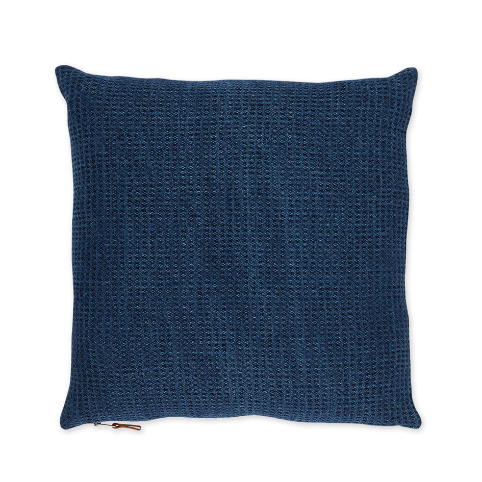 Linen Waffle Knit Pillow in Indigo Image 1