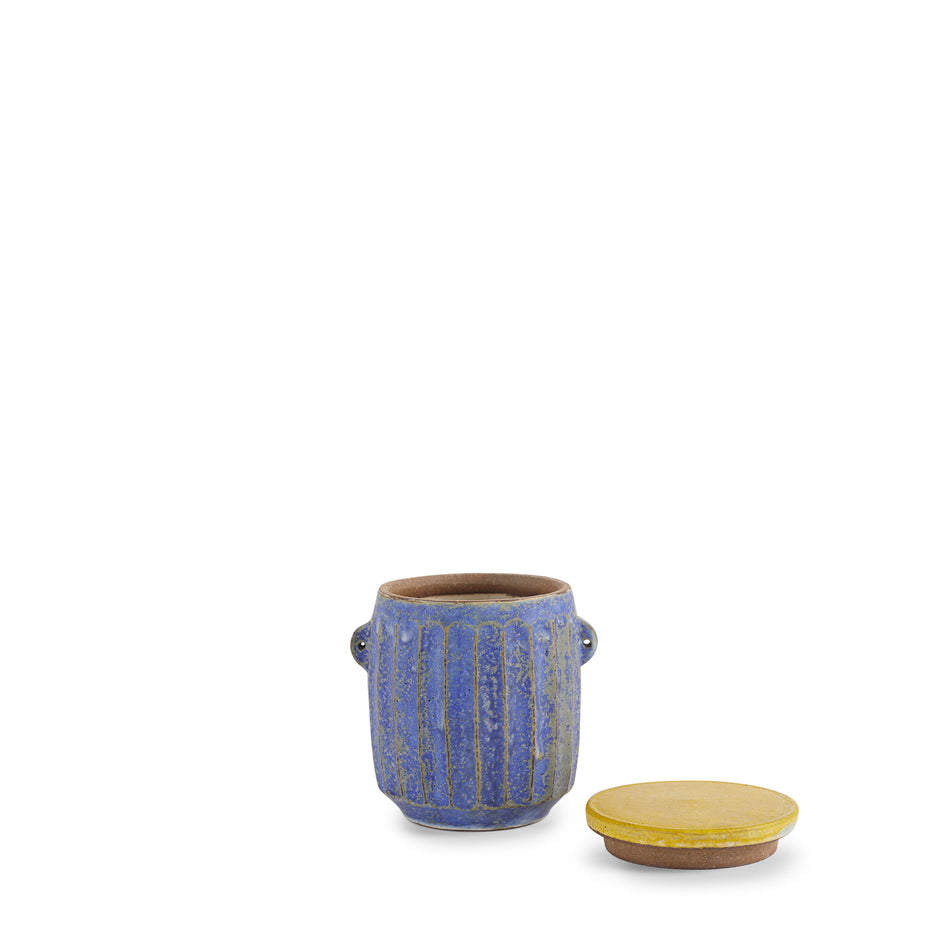 #32 Canister in Indigo with Yellow Lid Image 2