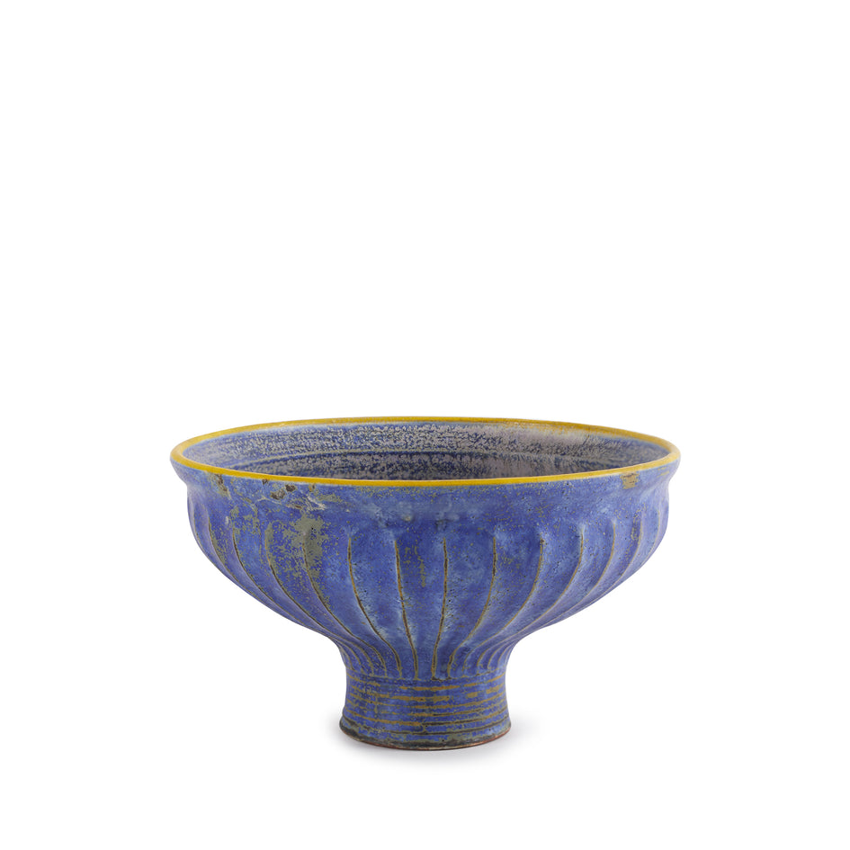 #56 Pedestal Bowl in Indigo with Yellow Rim Image 1