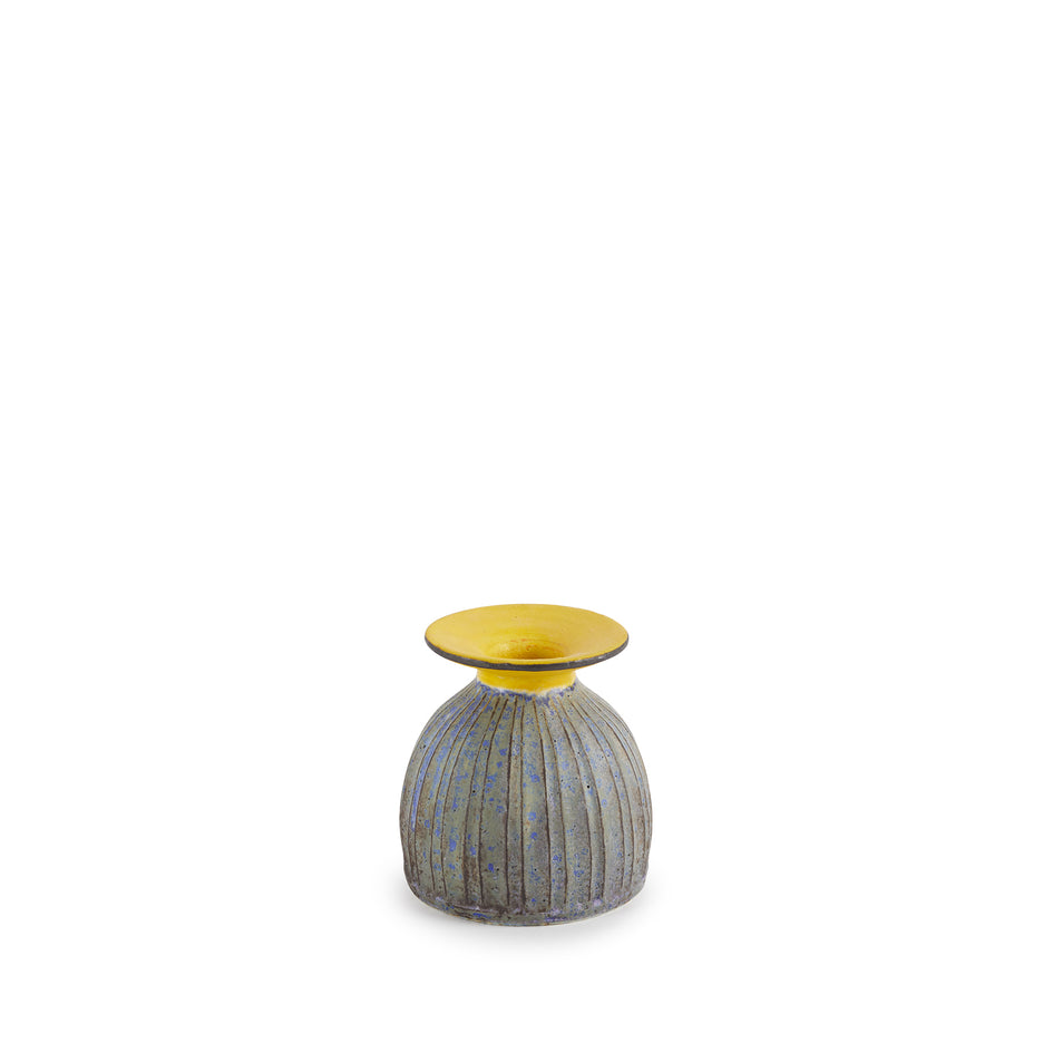 #6 Small Vase in Indigo with Yellow Ring Image 1
