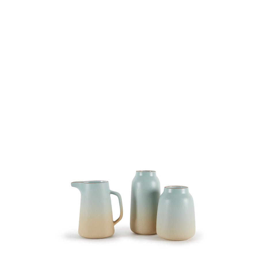 Wide Vase in Aqua and Barley Image 4