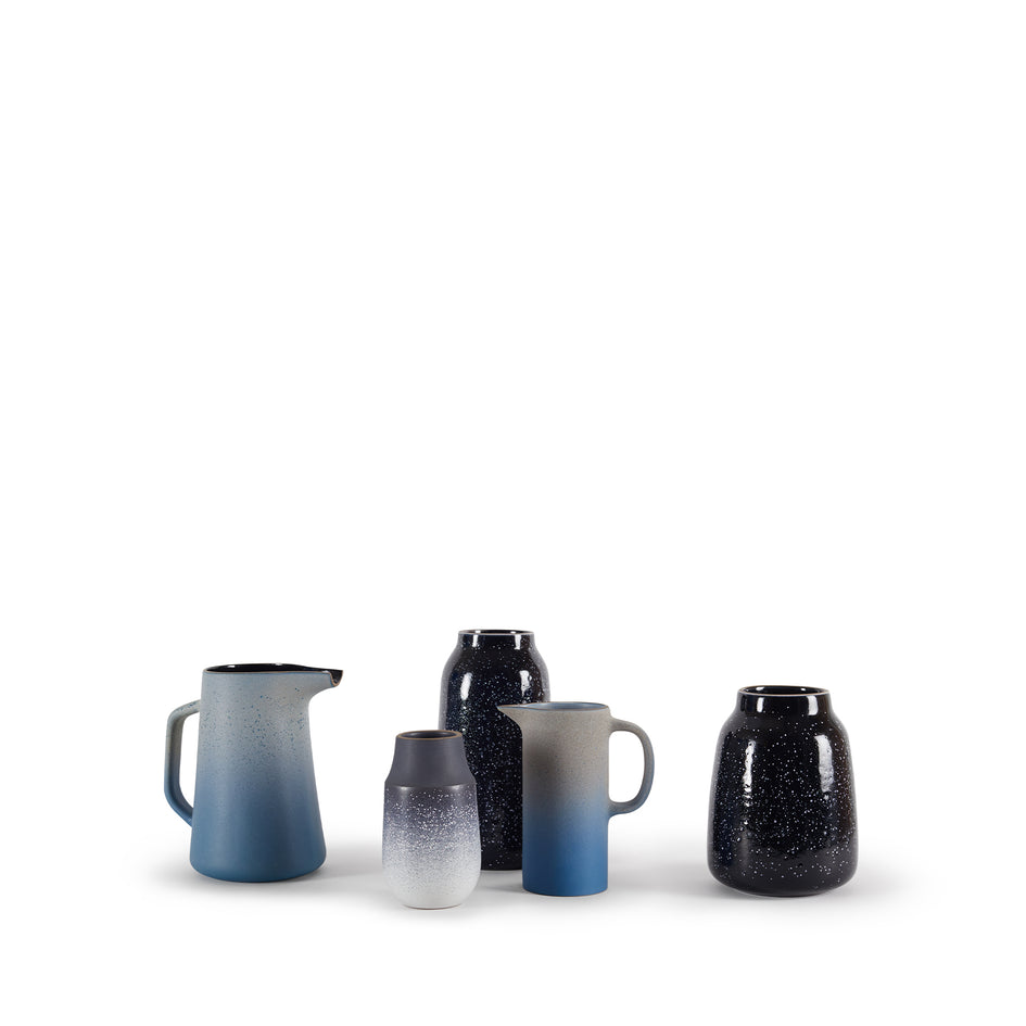 Neck Vase in Indigo and Opaque White Image 4