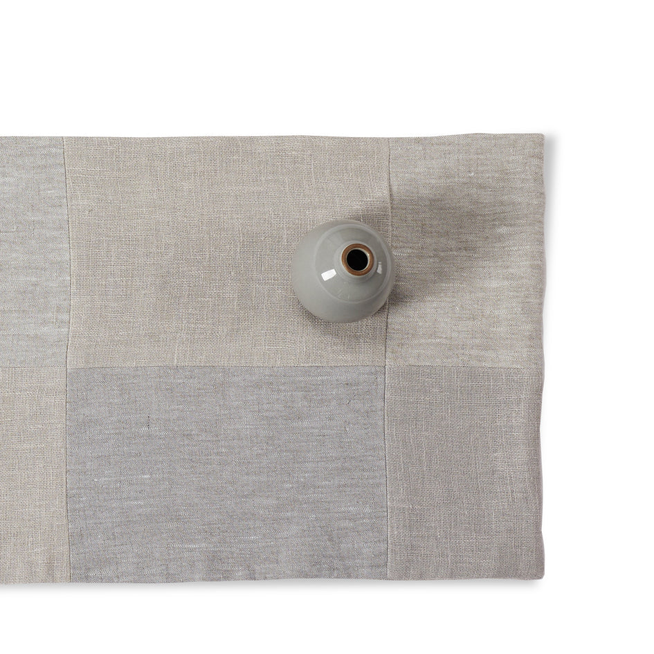 Linen Patchwork Runner in Fog Image 1
