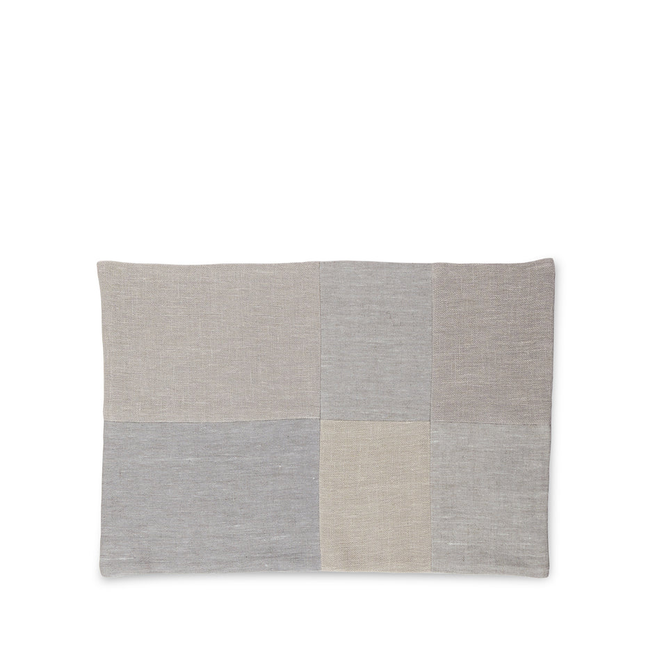 Linen Patchwork Placemat in Fog Image 1