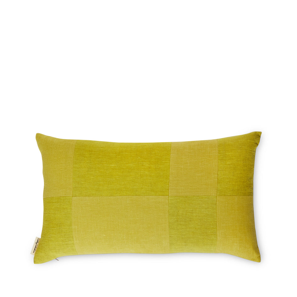 Linen Patchwork Pillow in Sunshine Image 1