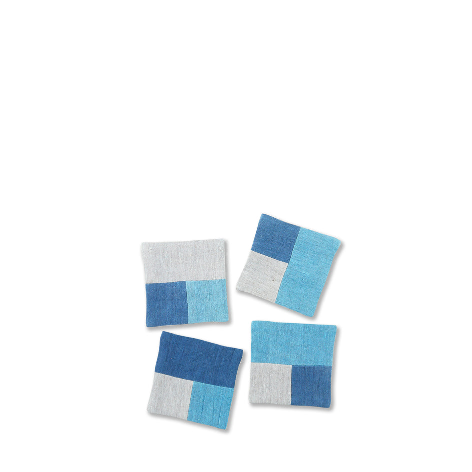 Linen Patchwork Coaster Set in Blues (Set of 4) Image 1