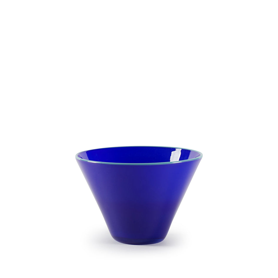 Conical Bowl in Opaque Lapis with Celadon Lip Image 1