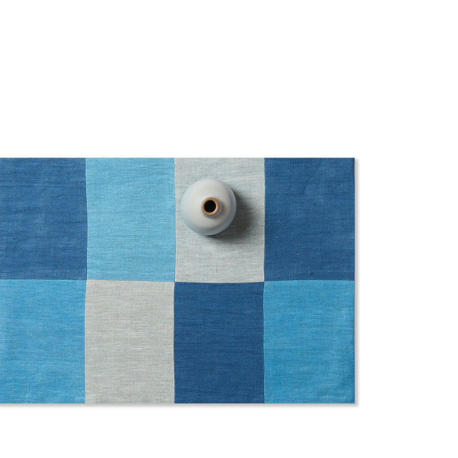 Linen Patchwork Runner in Blues Image 1