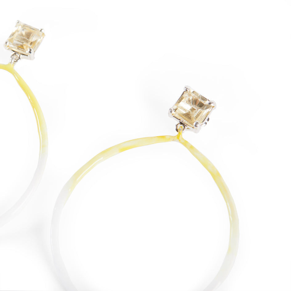 Citrine Post Earrings with Enameled Hoop Zoom Image 2