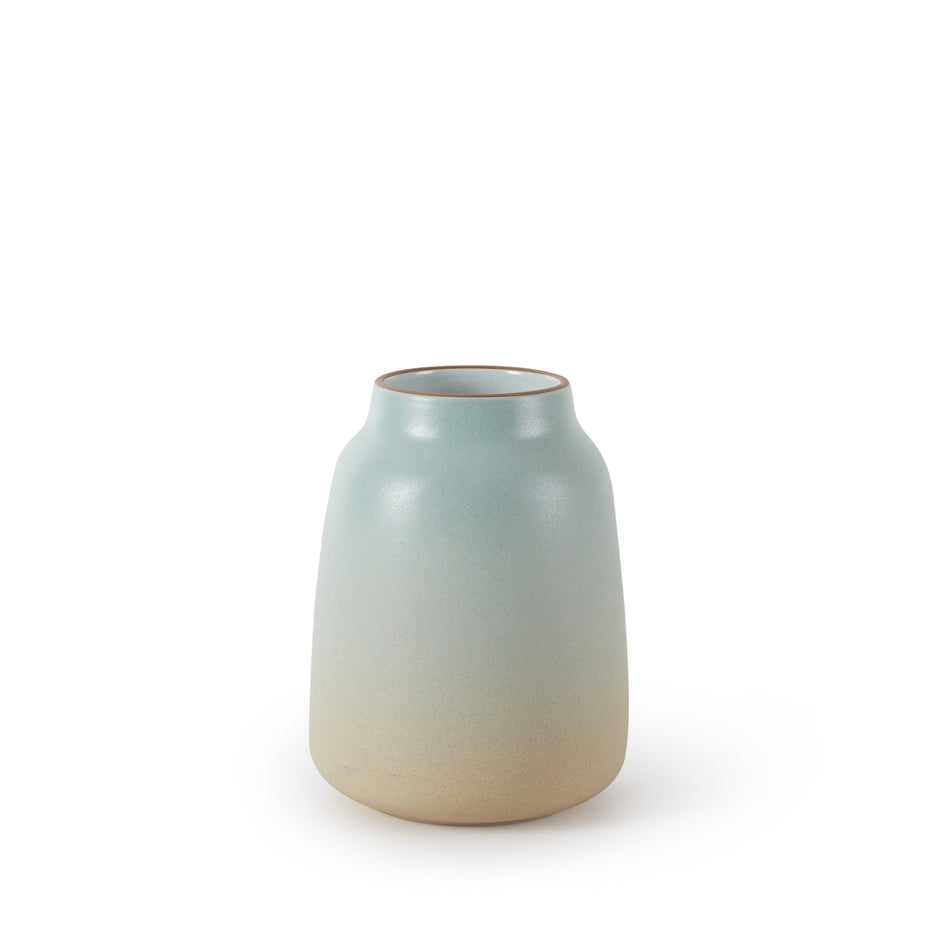 Wide Vase in Aqua and Barley Image 1